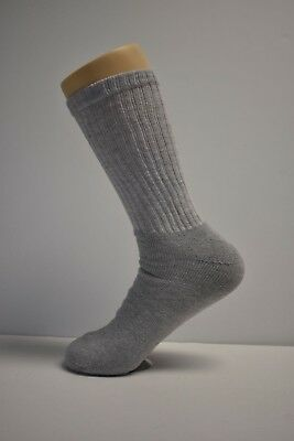 3-6-12 Pair Mid-Weight Athletic Sports Cotton Crew Socks Gray Mens Size 10-13
