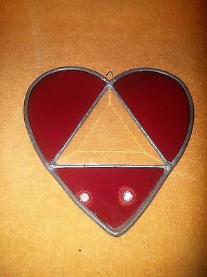 Heart-Shaped Red Leaded Stained Glass Window Display / Sun Catcher - USA