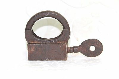 Old Vintage Antique Rare Small Iron Lock and Key Collectible PA35