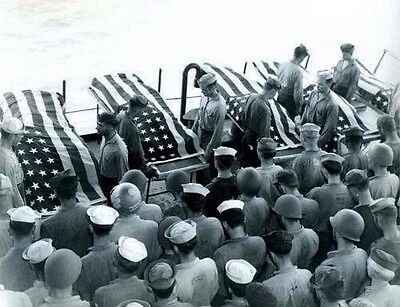 WWII B&W Photo US Navy Burial At Sea Leyte Gulf  World War Two WW2 USN  / 1269A