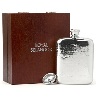 NEW Royal Selangor Hip Flask In Wooden Gift Box