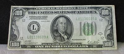 "1928A 100 Dollar ""redeemable"" In Gold U.s. Bank Note, San Francisco, Circulated!"