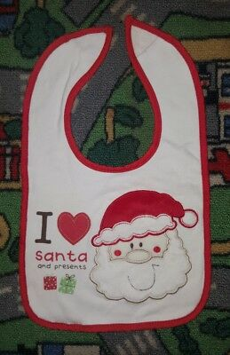 BABY BOYS Sz ONE SIZE red & white CHRISTMAS bib VELCRO TAB! SANTA!