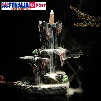 Ceramic Mountain Waterfall Smoke Backflow Incense Burner Cones Holder + 8 Cones