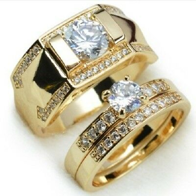 18K Gold Plated Stainless Steel Wedding Couple Ring Engagement Rings Set