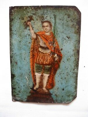 Ntique Retablo On Tin Of San Expedito In Good Antique Condition All Original