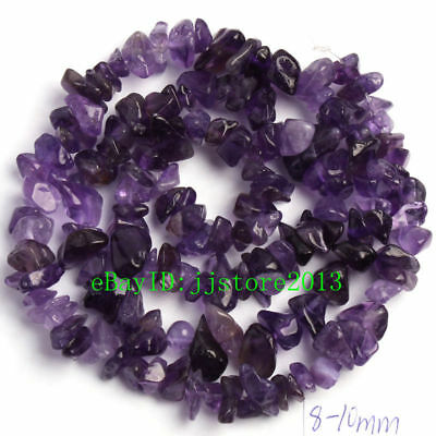 6-8mm Natural Amethyst Freeform Gravel DIY Gemstone Loose Beads Strand 16""