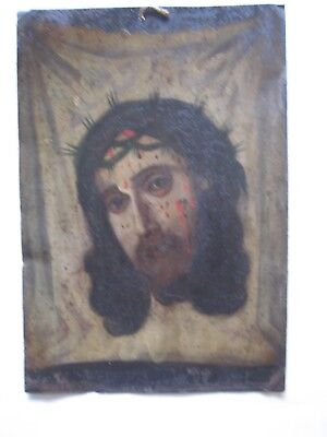 Original Antique  Retablo On Tin Of The Divine Face Of Christ On Veronica's Veil