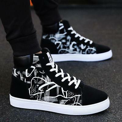 Fashion Mens High-top Canvas Lace up Sneakers Casual Print Sport Board Shoes NEW