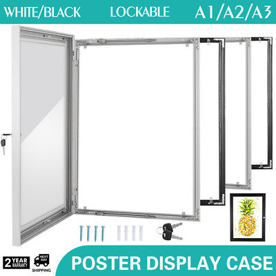 A3/A2/A1 Lockable Poster Frame Menu Outdoor Display Case Silver Retail Signs