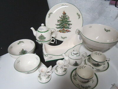 Spode Christmas Tree Lot Bowls Cake Plate Sleigh Mixing Bowl Candle Holders