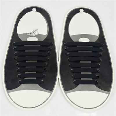 Black No Tie Shoe Laces Silicone Easy Shoelaces Best For Adults & Kids Trainers