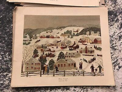"Lot of 4 Vintage Prints - Grandma Moses ""Four Seasons"" Folk Art Prints from '50s"