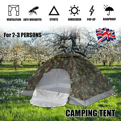 2 Person Camo Camping Waterproof Folding Tent Hiking 4 Season Outdoor NEW