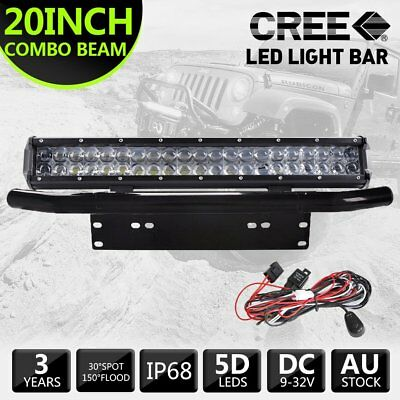 10D 20inch 420W CREE LED Light Bar Spot Flood Combo + 23inch Black Number Plate