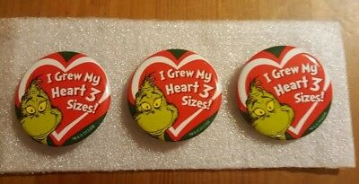 """""""I Grew My Heart Three Sizes"""" How The Grinch Stole Christmas button pin lot of 3"""
