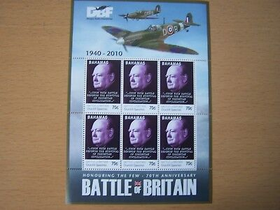 Bahamas,2010.battle Of Britain,churchill,70C,sheetlet Of 6 Vals,u/m,cat£12.