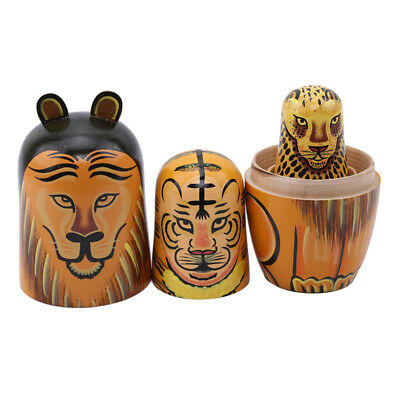 Russian Nesting Dolls Toy Wooden Doll Lion  Matryoshka Hand Painted Decor Gift L