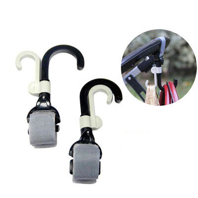 2 × Baby Cart Hook Holder Baby Buggy Double Rotation Hand Free Hanger Bag Clips