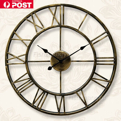 Large Wall Clock Metal Industrial Iron Vintage French Provincial Antique GIFT I