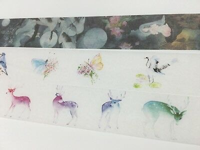 Fantasy Animal Woodland Washi tape crane Butterfly Birds Deer Wide Tape