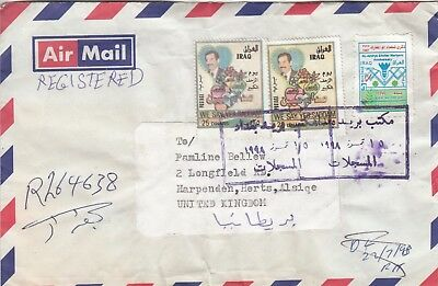 W 3309 Harryia? Baghdad registered air cover July 1998 to UK; 3 stamps