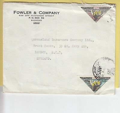 W 3315 Iraq  August 1965 cover to UK; 2 triangular WHO stamps