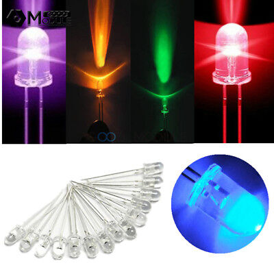 F5 5mm Round Red/Green/Blue/Yellow/White/Purple Water Clear LED Diodes Light