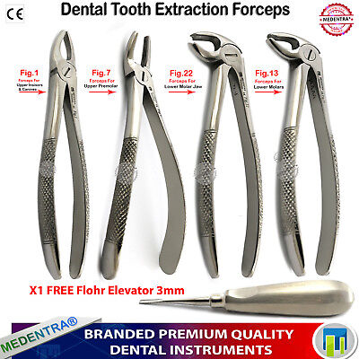 Dental Surgical Root Tip Extraction Tooth Extracting Forceps FREE Flohr Elevator