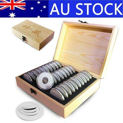 30 Grid Commemorative Coin Collection Wooden Coin Storage Box 20/25/30/35/40mm