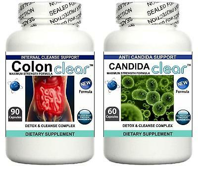 Colon Candida Cleanse Detox Pills Yeast Bloating Fungus Thrush Digestive Support