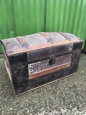 Antique Metal & Wood Bound Domed Top Steam Trunk Chest