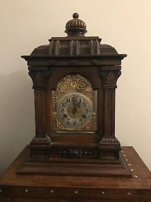 Antique Geman Oak Bracket Clock With Junghans Movement