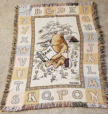 "Classic Pooh Alphabet Goodwin Weavers Jacquard Blanket 100% cotton 34"" x 48"" NEW"