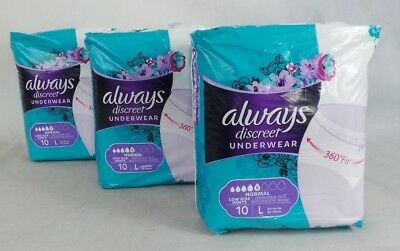 Always Discreet Underwear . Size L. 3 packs of 10. Low rise pants. NORMAL