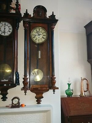 Antique Walnut And Ebony Single Weighted Vienna Clock