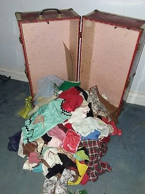 Vintage 1950's Lot (80) Doll Clothes ( Various Sizes) With Travel Case
