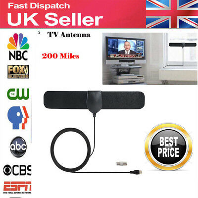 Digital HDTV Indoor Freeview Antenna with TV Aerial Amplifier 200Mile Range-Thin