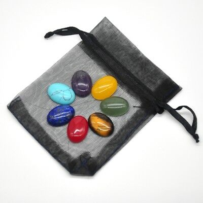 7 Chakra Stones Set Reiki Engraved Healing Quartz Crystal Worry Flat Gemstone