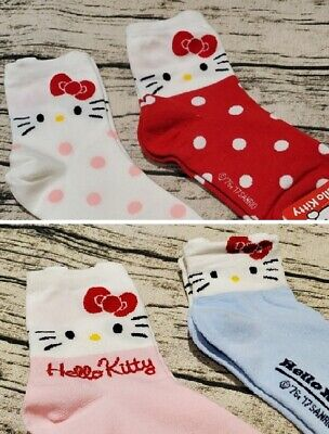 2x Hello Kitty Socks Cute Crew Girl Pink Size 22-26 cm Soft Made in Korea Women