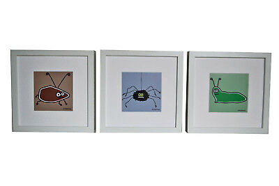 Set of 3 FRAMED funny insect pictures. Deep chunky white wood frames.