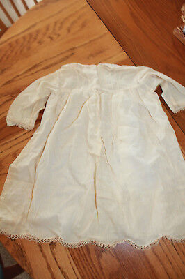 Vintage baby gown scalloped lace trim 1940-50's fair cond  0-3 mth size handmade