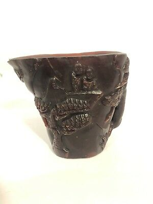 Chinese carved Ox horn libation cup decorated with figures landscape 4 Character