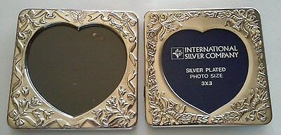"Set of 2 Silver Plated Heart Picture Photo Frames tabletop 3"" x 3"""