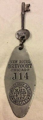 Vintage New Hotel Brevoort Skeleton Room Key & Fob CHICAGO