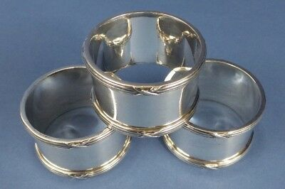 Set of 3 Vintage Silver Plated Napkin Rings