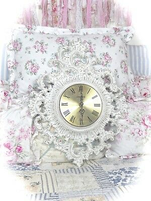 SHABBY Ornate WHITE Vintage BURWOOD Wall CLOCK Cottage CHIC Floral ROSES Homco