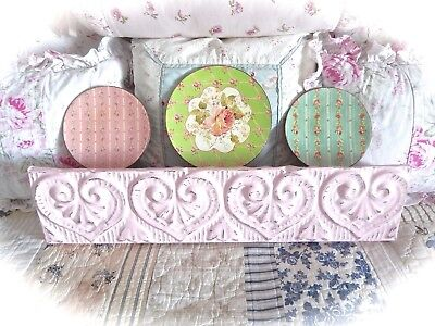 SHABBY Pink Antique TIN Ceiling Long Wall Plate SHELF Topper Hearts Cottage CHIC