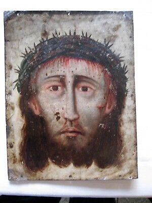 Original Antique Retablo On Tin Quite Old , Divine Face Of Christ