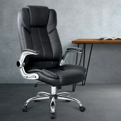 Retractable Office Chair Adjustable Computer Swivel Executive PU Leather Black
